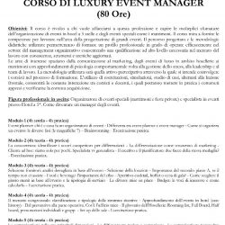 1 CORSO LUXURY EVENT MANAGER  80h