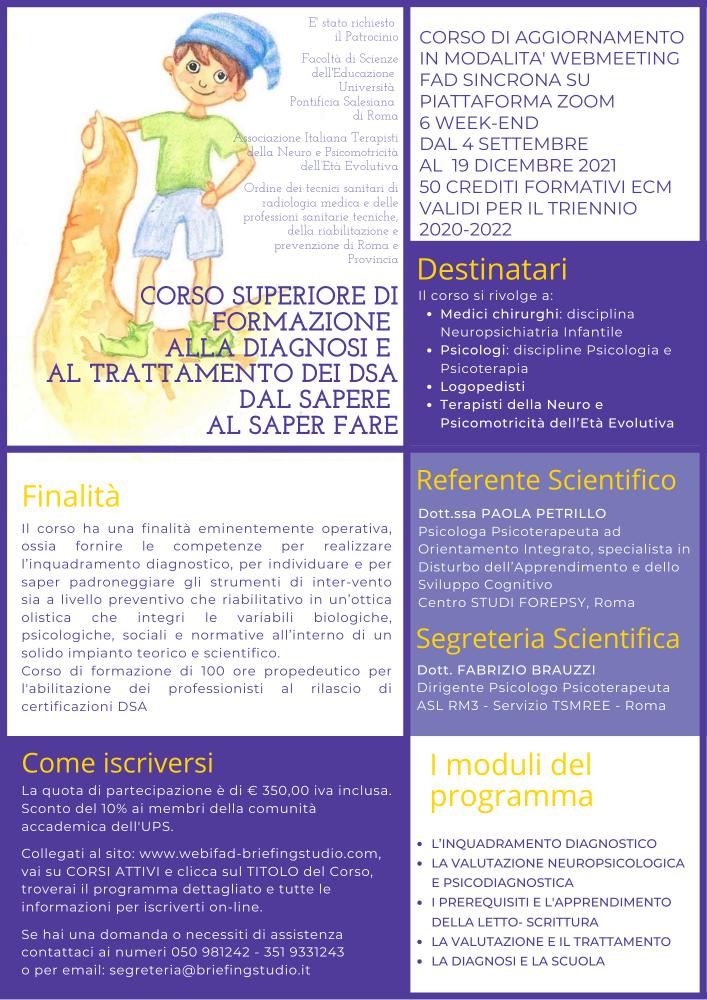 Poster Corso Superiore di Formazione alla Diagnosi e al Trattamento dei DSA 2